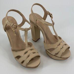 Amiana Beige Platform Open Toe Sandal Women's 8
